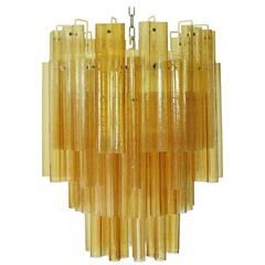 Amber Murano Glass Tubes Chandelier