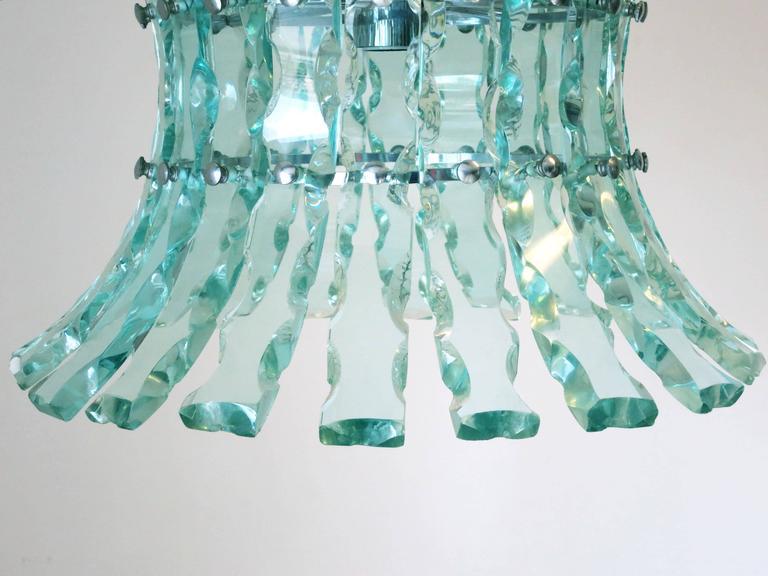 Beveled Italian Chandelier in the Style of Fontana Arte For Sale