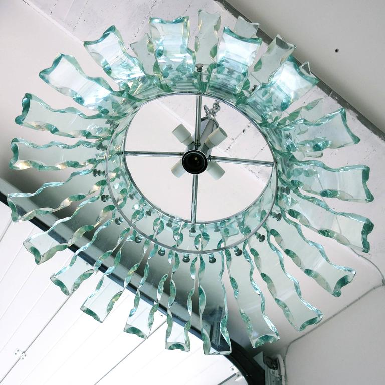 20th Century Italian Chandelier in the Style of Fontana Arte For Sale