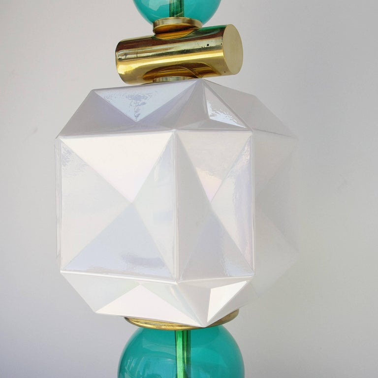 Polished Pair of Murano Table Lamps For Sale