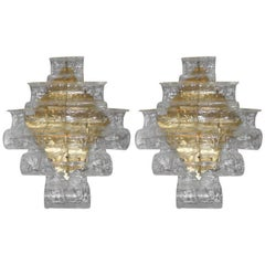 Pair of Murano Clear Waves Sconces by Mazzega
