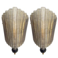 Pair of Fan Wall Sconces