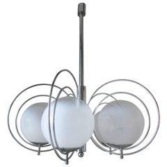 Italian Midcentury White Murano Globes Pendant by Reggiani