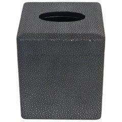 Italian Black Shagreen Tissue Box by Fabio Ltd