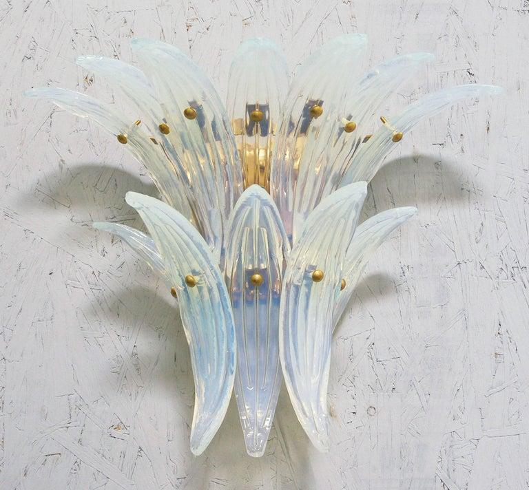Mid-Century Modern Two Pairs of Opaline Palmette Sconces by Fabio Ltd For Sale