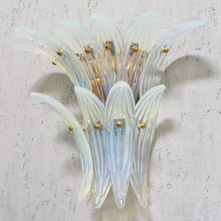 Italian Two Pairs of Opaline Palmette Sconces by Fabio Ltd For Sale