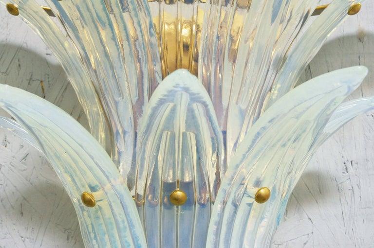 Contemporary Two Pairs of Opaline Palmette Sconces by Fabio Ltd For Sale