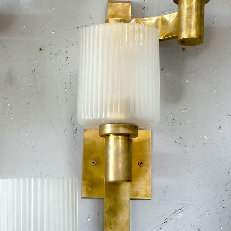 Mid-Century Modern Pair of Ribbed Sconces by Stilnovo For Sale