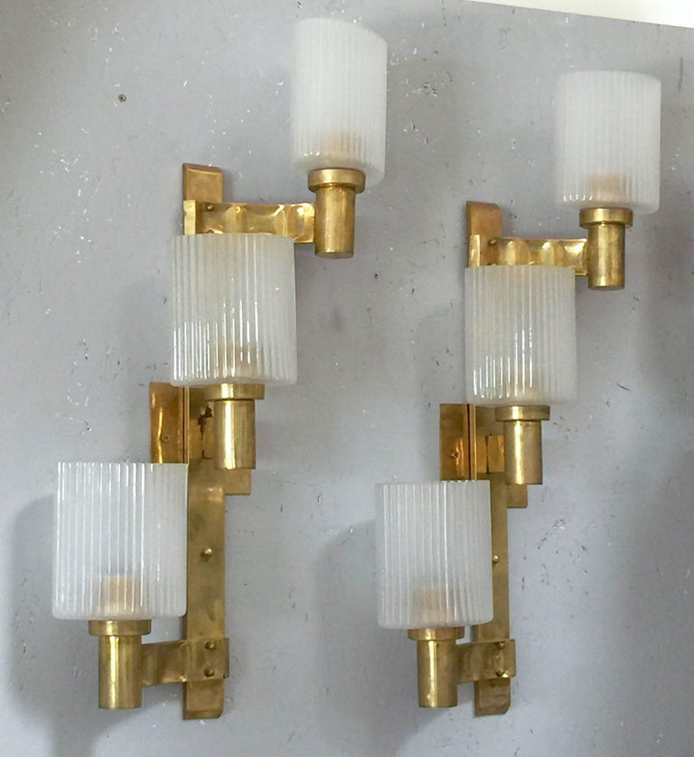 Frosted Pair of Ribbed Sconces by Stilnovo For Sale