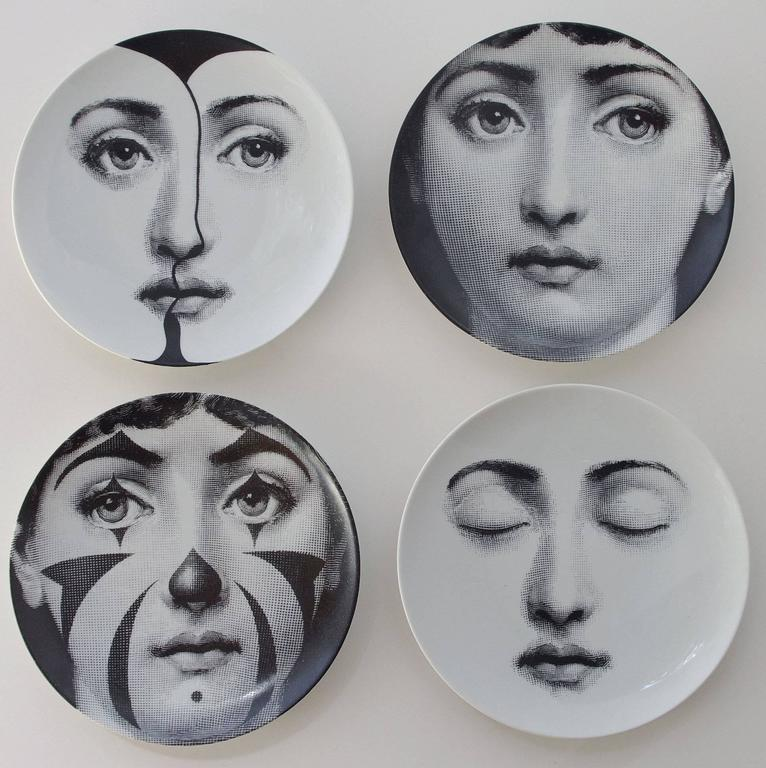 "A set of four vintage Piero Fornasetti ""Tema e Variazioni"" plates by Ancap Porcellana Italy. Each plate is in perfect condition and marked on the back. Fornasetti, Milano Made in Italy Ancap Porcellana Sona Verona Italy Tema e"