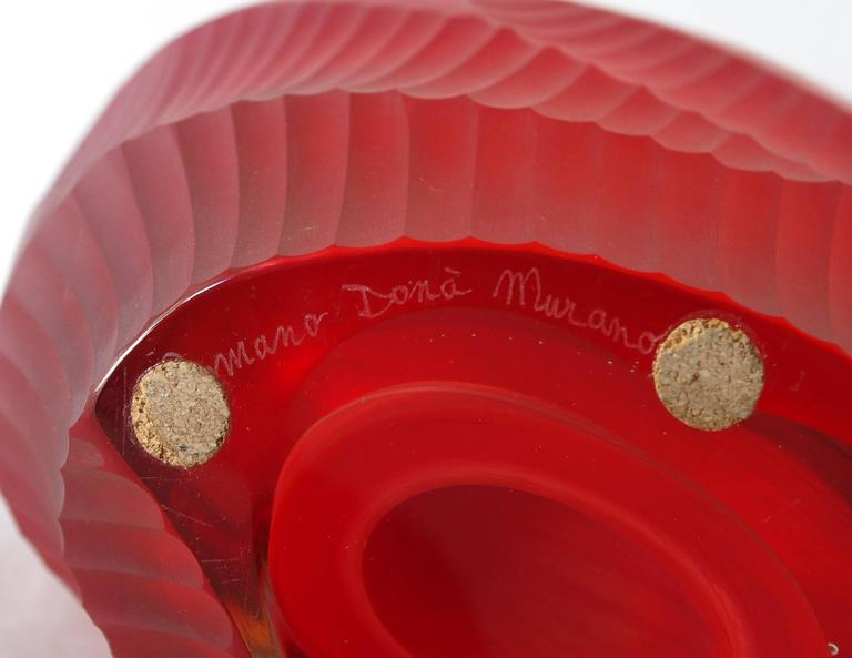 Red Murano Glass Vase Sculpture by Romano Dona' For Sale 2