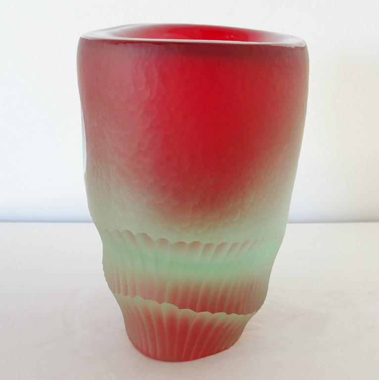 20th Century Red Murano Glass Vase Sculpture by Romano Dona' For Sale