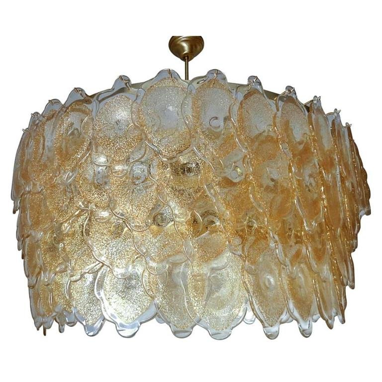 Italian Murano Gold Clouds Drum Chandelier by Mazzega