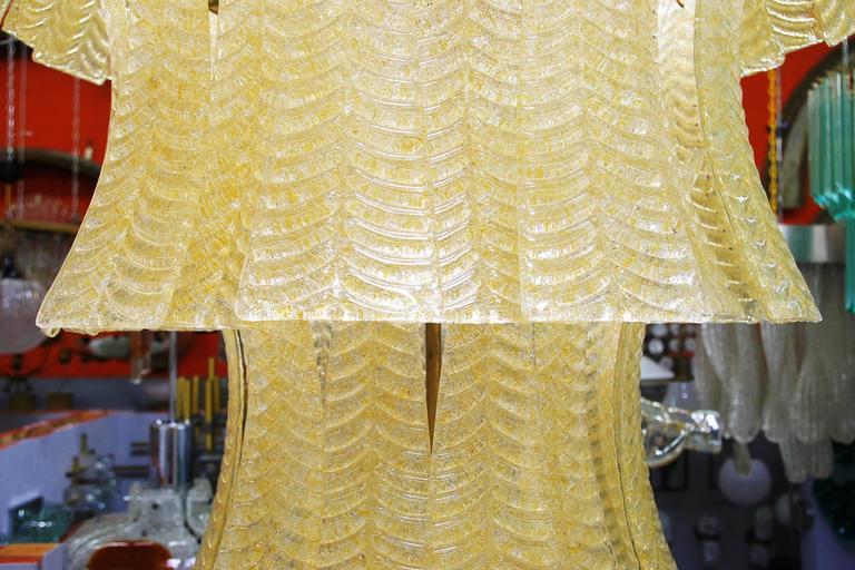 20th Century Monumental Italian Murano Glass Cascade Chandelier by Barovier e Toso For Sale
