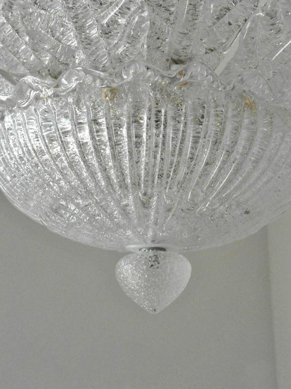 Italian Murano Glass Flush Mounts With Graniglia Leaves