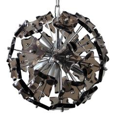 Italian Smoky Faceted Glass Sputnik Chandelier in the Style of Fontana Arte