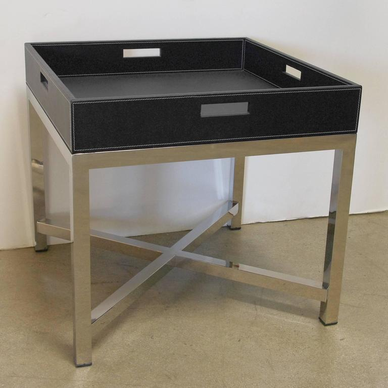 Black Leather And Stainless Steel Tray Table By Fabio Bergomi