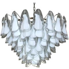"Italian Murano Milky White ""Rondine"" Glass Chandeliers by Vistosi"