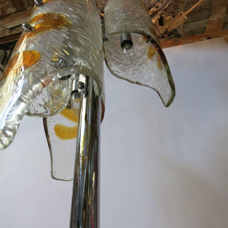 Italian Tubular Murano Glass Floor Lamp by Mazzega For Sale