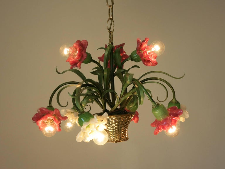 Italian Vintage Chandelier by Banci Firenze In Excellent Condition For Sale In Palm Springs, CA