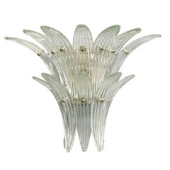 Italian Murano Two-Tier Clear Palmette Glass Sconces