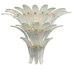 Italian Murano Three-Tier Clear Palmette Glass Sconces