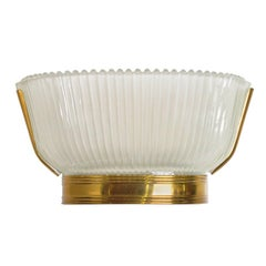 Art Deco Frosted Glass and Brass Sconces