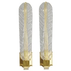 Pair of Italian Murano Glass Leaf Sconces by Ercole Barovier