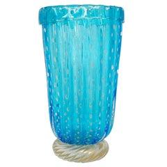 Murano Aquamarine Pulegoso Vase by Pino Signoretto