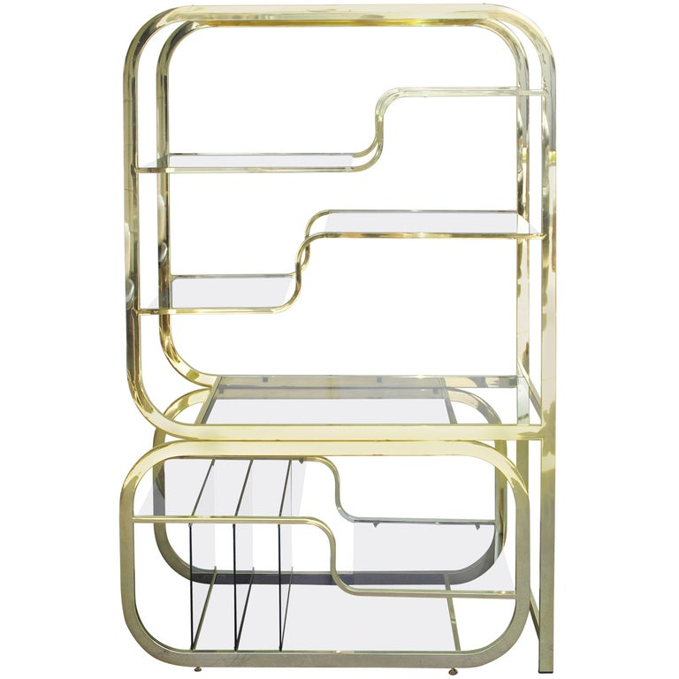 Brass Milo Baughman Style Expandable Étagère for Design Institute of America