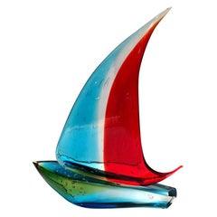 Murano Sailboat Single Sail by Sergio Costantini