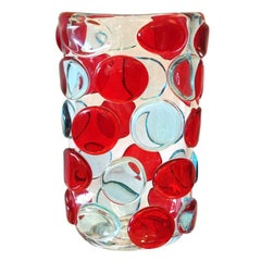 Murano Red and Blue Button Vases by Camozzo