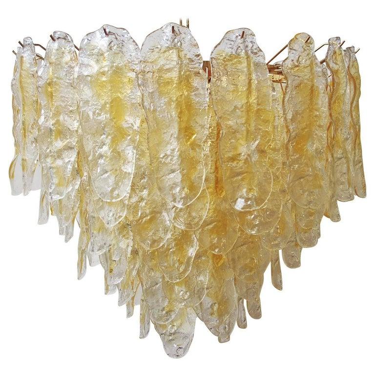 "Italian Murano Amber ""Fiamme"" Glass Chandeliers For Sale"