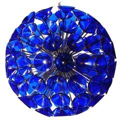 Italian Blue Murano Glass Trumpets Sputnik