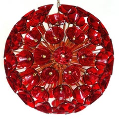 Italian Red Murano Trumpets Sputnik
