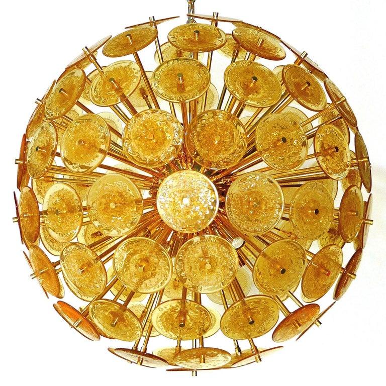 Italian Amber Murano Glass Disco Sputnik