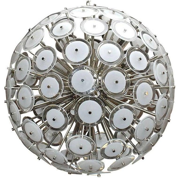 Italian White Murano Disco Chrome Sputnik