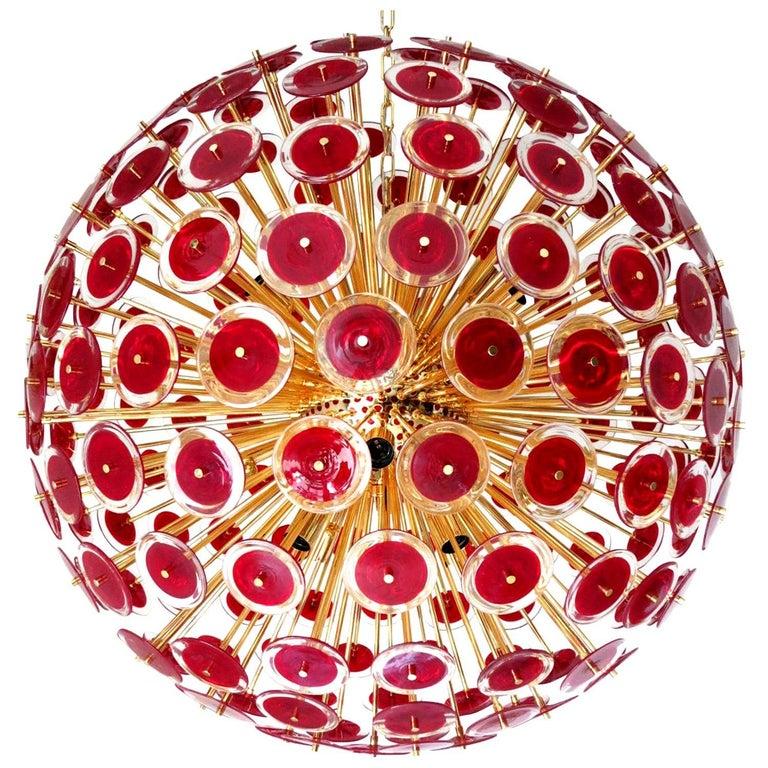 Italian Red Murano Disco Gold Sputnik