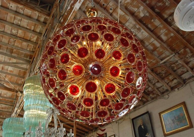 Murano Glass Italian Red Murano Disco Gold Sputnik For Sale