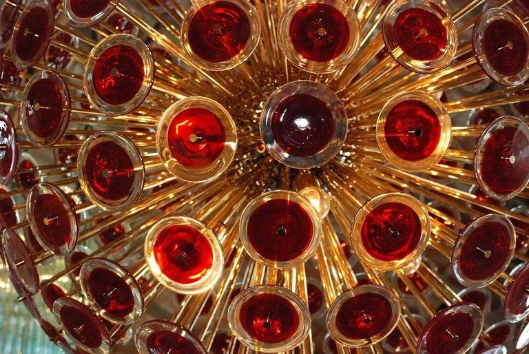 Italian Red Murano Disco Gold Sputnik For Sale 1