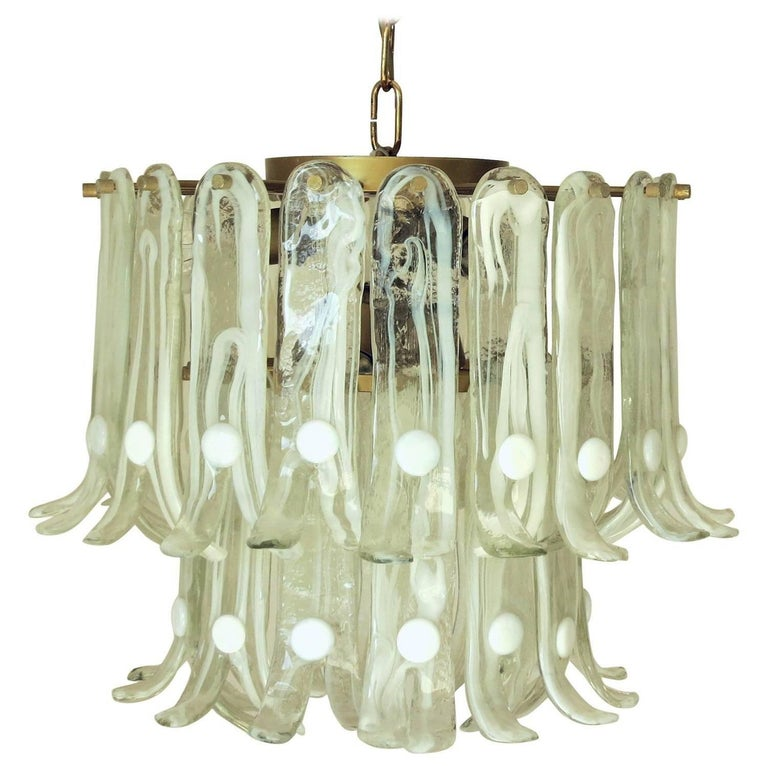 Italian Vintage Murano Glass Chandelier by Mazzega For Sale