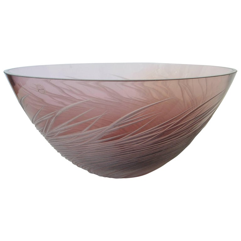 French Amethyst Etched Glass Fruit Bowl by Salviati
