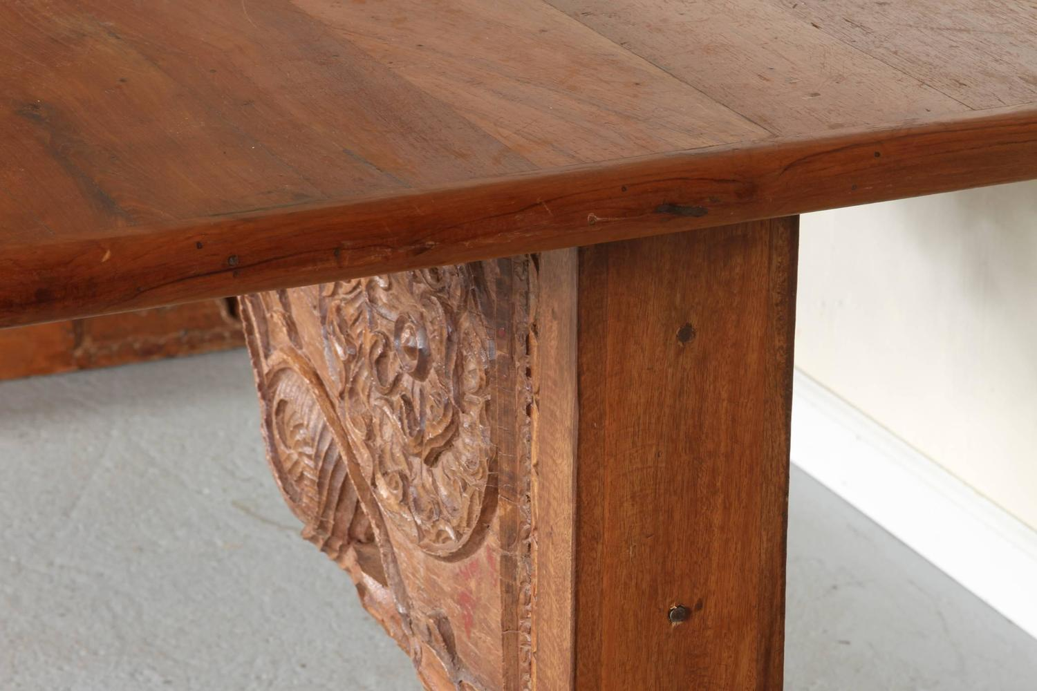 indian wood table with incorporated antique carved lintel for sale at
