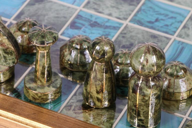 Decoupage chess board with gaming pieces for sale at stdibs