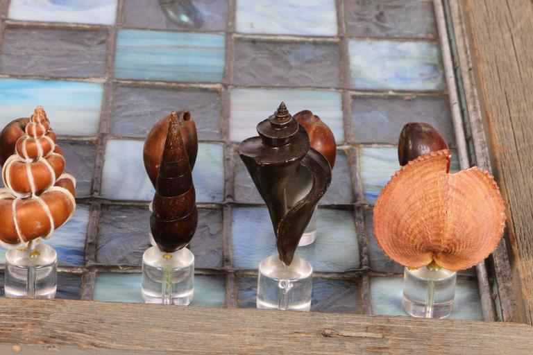 Leaded Glass Chessboard with Shell and Lucite Playing Pieces 2