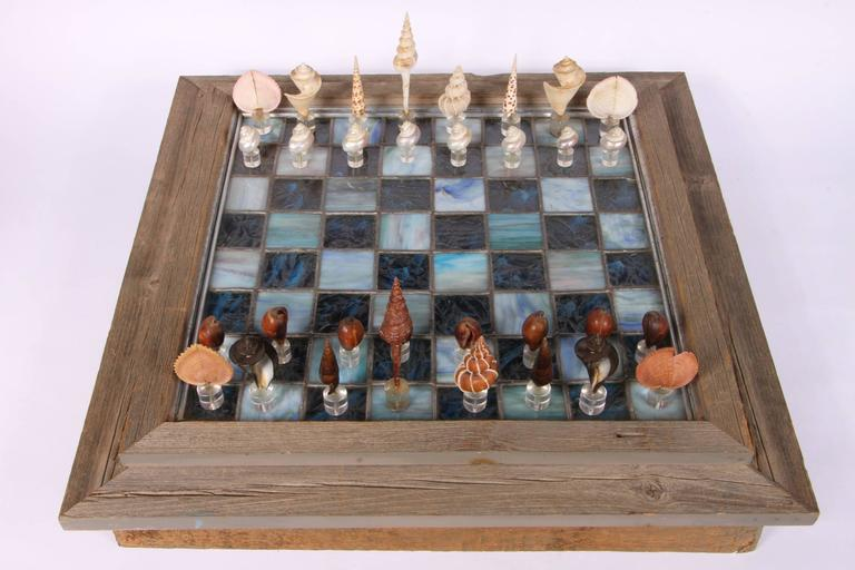 American Leaded Glass Chessboard with Shell and Lucite Playing Pieces For Sale