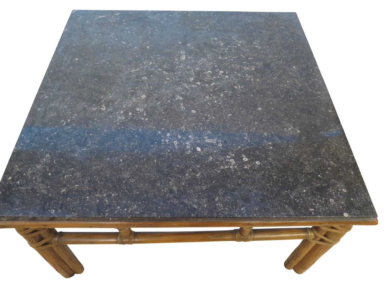 McGuire Coffee Table With Black Marble Top For Sale At 1stdibs
