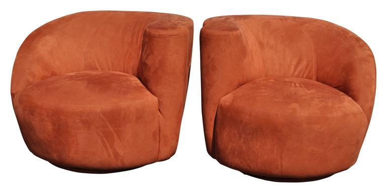 Pair Of Vladimir Kagan Style Nautilus Chairs 2