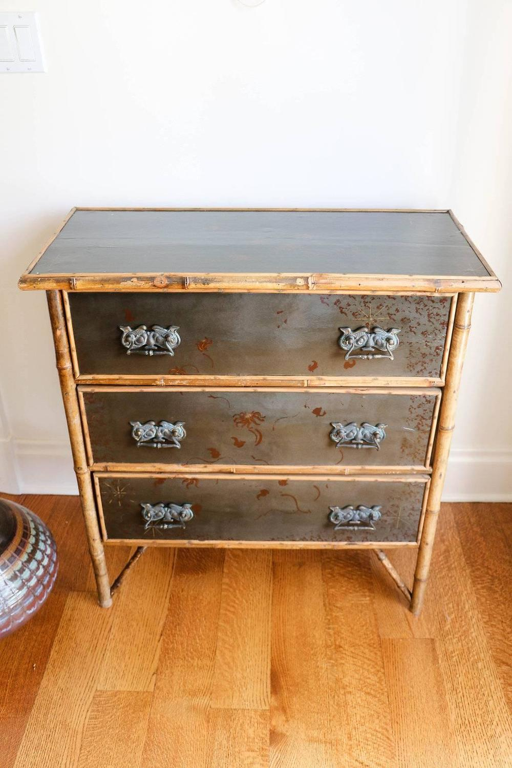 Hand painted rattan three drawer chest at 1stdibs for Hand painted chests