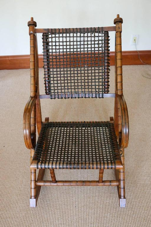Rare George Hunzinger Rocking Chair with Patented Steel Webbing, 1869 In Good Condition For Sale In Bridgeport, CT